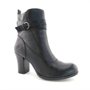 BORN Black Leather Heeled Buckle Strap Booties 8